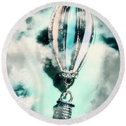 Little Hot Air Balloon Pendant And Clouds Round Beach Towel