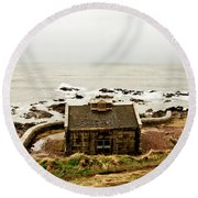 Little House At The Nigg Bay. Round Beach Towel