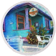 Little House Cafe  Round Beach Towel by Linda Weinstock