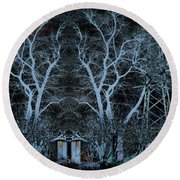 Little House In The Woods Round Beach Towel