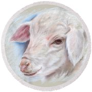 Little Lamb Round Beach Towel
