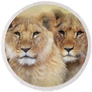 Little Lions Round Beach Towel