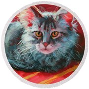 Round Beach Towel featuring the painting Little Meow Meow by Lesley Spanos