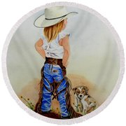 Little Miss Big Britches Round Beach Towel