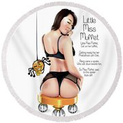 Round Beach Towel featuring the digital art Little Miss Muffet by Brian Gibbs