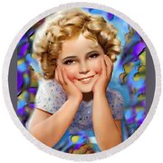 Little Miss Shirley Round Beach Towel