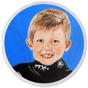 Round Beach Towel featuring the painting Little Mister G by Betty-Anne McDonald