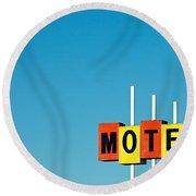 Little Motel Sign Round Beach Towel