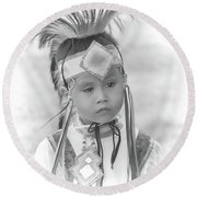 Little Native American Dancer Round Beach Towel