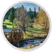 Little Old Mill Round Beach Towel