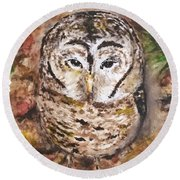Little Owl Round Beach Towel