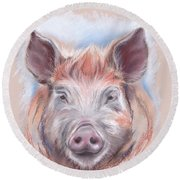 Little Pig Round Beach Towel