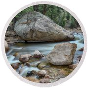 Round Beach Towel featuring the photograph Little Pine Tree Stream View by James BO Insogna