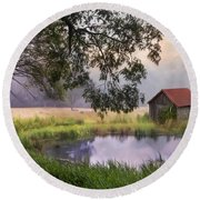Round Beach Towel featuring the photograph Little Pond by Robin-Lee Vieira