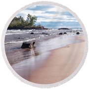 Round Beach Towel featuring the photograph Little Presque Isle by Phil Perkins