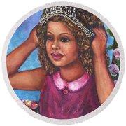 Round Beach Towel featuring the painting Little Princess by Alga Washington