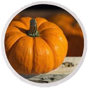 Little Pumpkin Round Beach Towel by Joseph Skompski