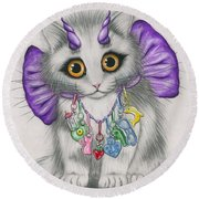 Little Purple Horns - 1980s Cute Devil Kitten Round Beach Towel