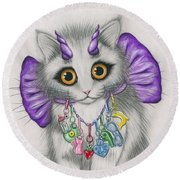 Round Beach Towel featuring the mixed media Little Purple Horns - 1980s Cute Devil Kitten by Carrie Hawks