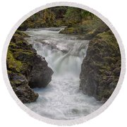Little Qualicum Lower Falls Round Beach Towel by Randy Hall
