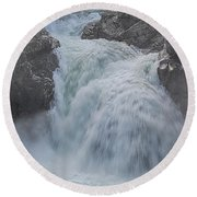 Round Beach Towel featuring the photograph Little Qualicum Upper Falls by Randy Hall