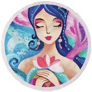 Little Quan Yin Mermaid Round Beach Towel
