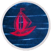 Round Beach Towel featuring the painting Little Red Boat  by Jacqueline McReynolds