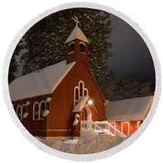 Little Red Church Round Beach Towel