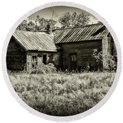 Little Red Farmhouse In Black And White Round Beach Towel by Paul Ward