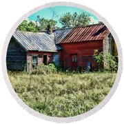 Little Red Farmhouse Round Beach Towel by Paul Ward