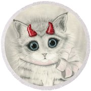 Round Beach Towel featuring the drawing Little Red Horns - Cute Devil Kitten by Carrie Hawks