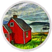 Little Red House In Greenland Round Beach Towel