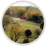 Round Beach Towel featuring the photograph Little Red In Valley  by Yumi Johnson