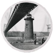 Little Red Lighthouse, 1961 Round Beach Towel