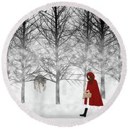 Round Beach Towel featuring the digital art Little Red by Nancy Levan