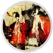 Little Red Riding Hood And The Big Bad Wolf Under A Yellow Moon Round Beach Towel by Jeff Burgess