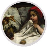 Little Red Riding Hood Round Beach Towel by Gustave Dore