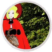 Little Red Riding Hood In The Forest Round Beach Towel by Marian Cates