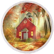 Little Red Schoolhouse Round Beach Towel