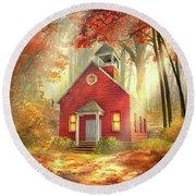Little Red Schoolhouse Round Beach Towel