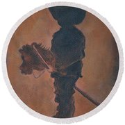 Round Beach Towel featuring the painting Little Rider by Leslie Allen