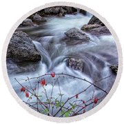 Little River Columbines Round Beach Towel
