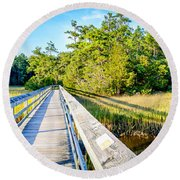 Little River Marsh Round Beach Towel by David Smith
