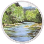 Little River Morning Round Beach Towel