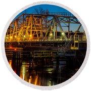 Little River Swing Bridge Round Beach Towel