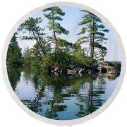 Little Rocky Pine Tree Island On Parker Pond Round Beach Towel by Joy Nichols