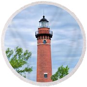 Round Beach Towel featuring the painting Little Sable Lighthouse by Christopher Arndt
