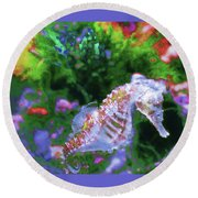 Little Sea Horse Round Beach Towel