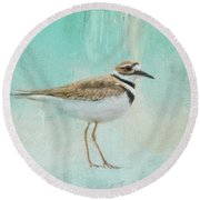 Little Seaside Friend Round Beach Towel by Jai Johnson