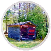 Little Shed At Farm Round Beach Towel by Shirley Moravec